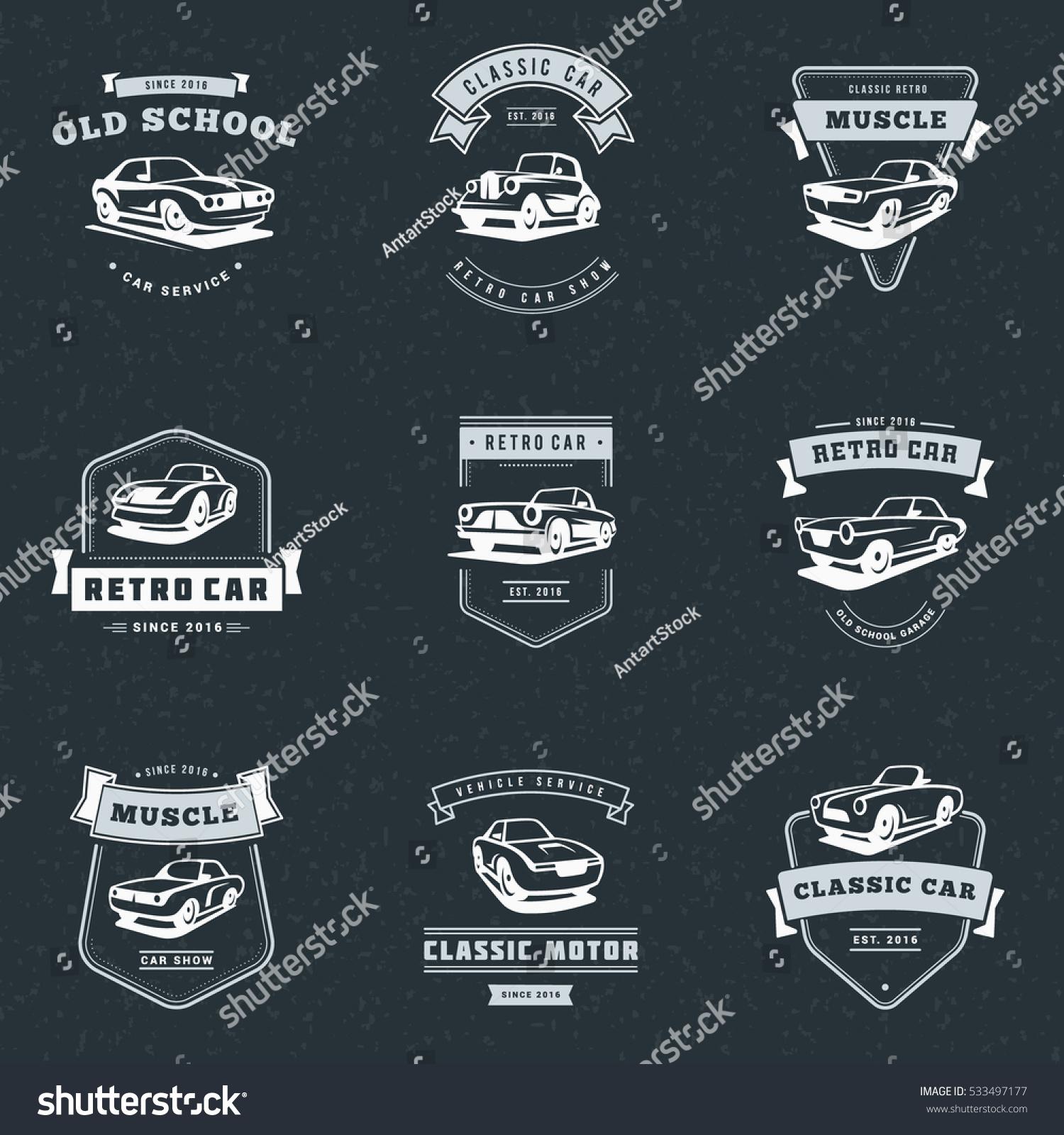 Design car club logo - Set Of Classic Car Logo Emblems Badges Service Car Repair Car Restoration