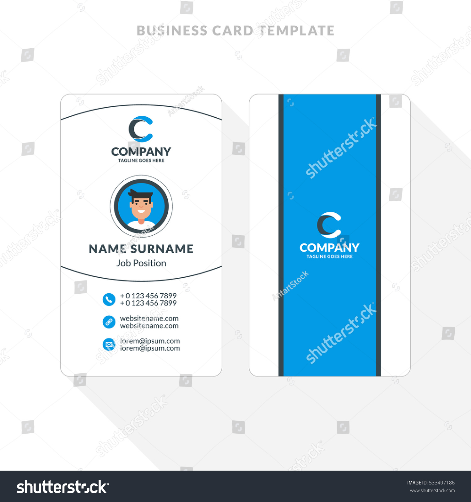 vertical doublesided business card template blue stock vector 533497186 shutterstock. Black Bedroom Furniture Sets. Home Design Ideas