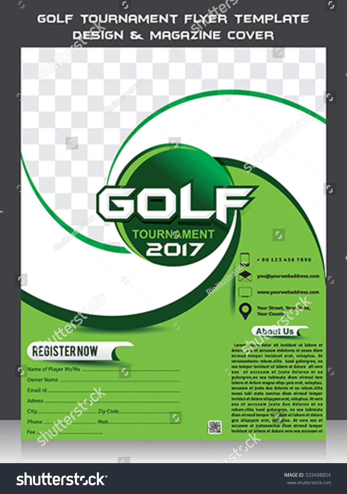 Golf Tournament Flyer Template Design Magazine Stock Vektorgrafik