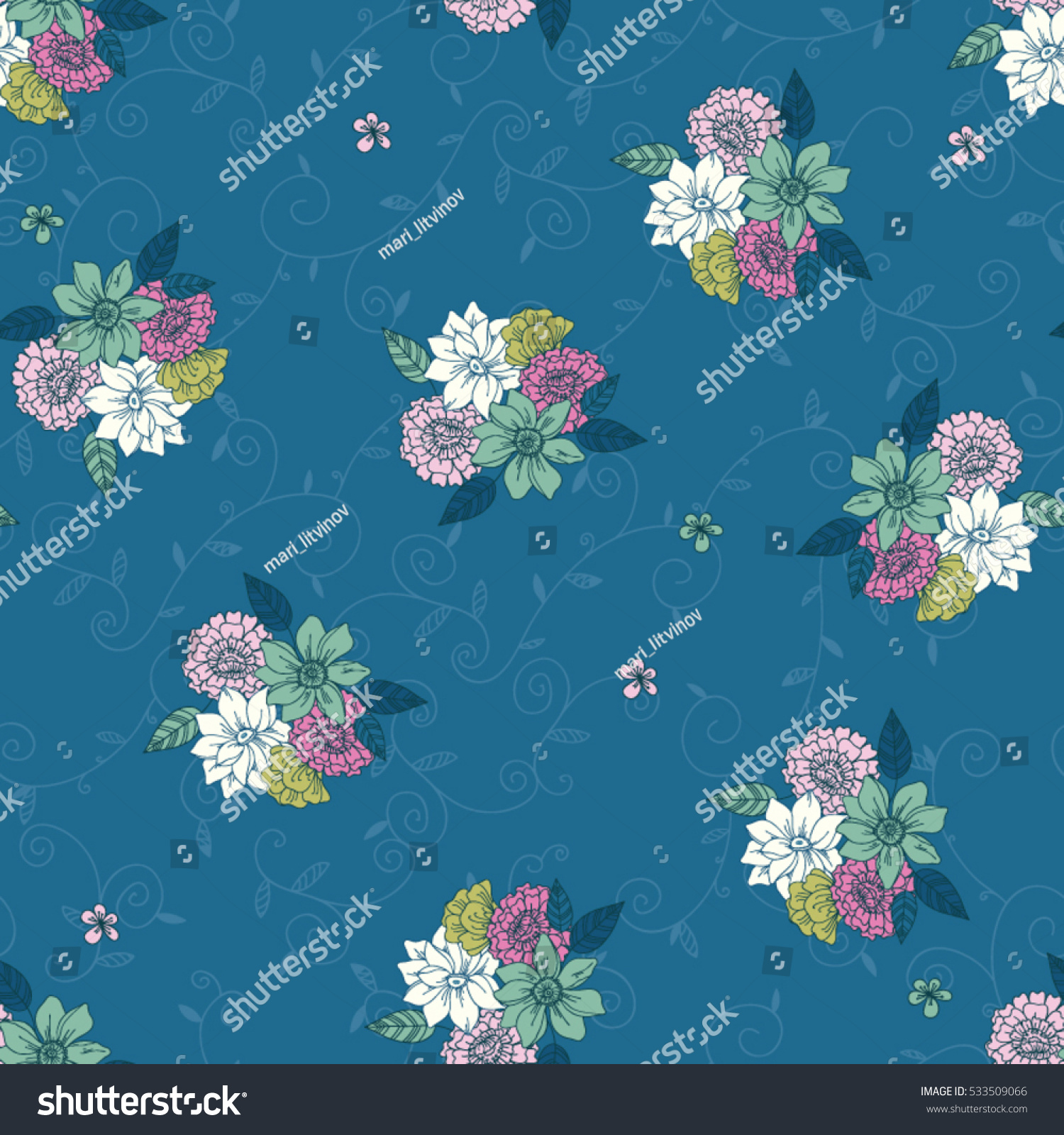Pink floral seamless vector background floral hrysanthemum seamless - Vector Seamless Hand Drawn Pattern Of Daisy Lilly Chrysanthemum And Leaves Floral Vintage