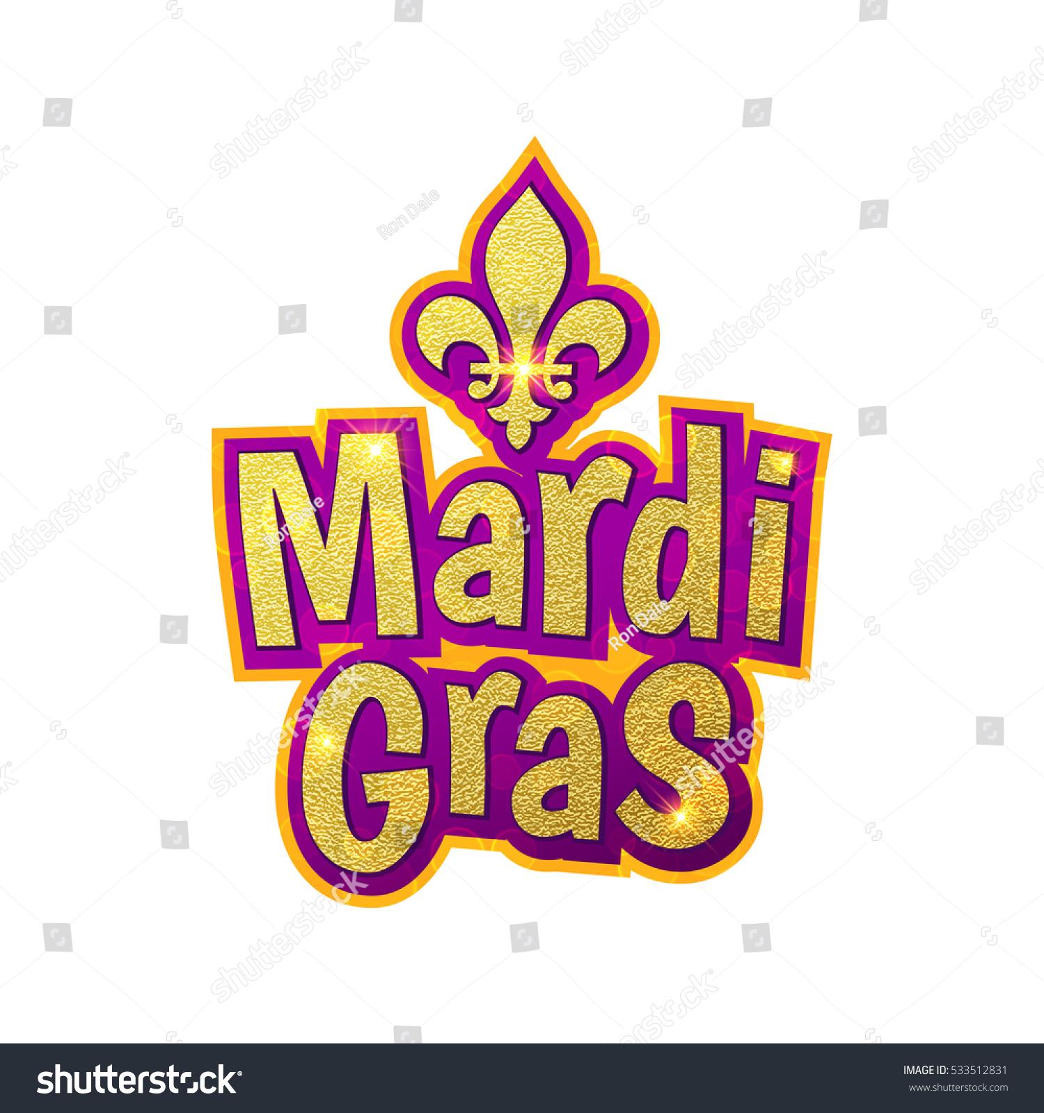 Mardi Gras Gold Glitter Text Sparkles Stock Vector Royalty Free