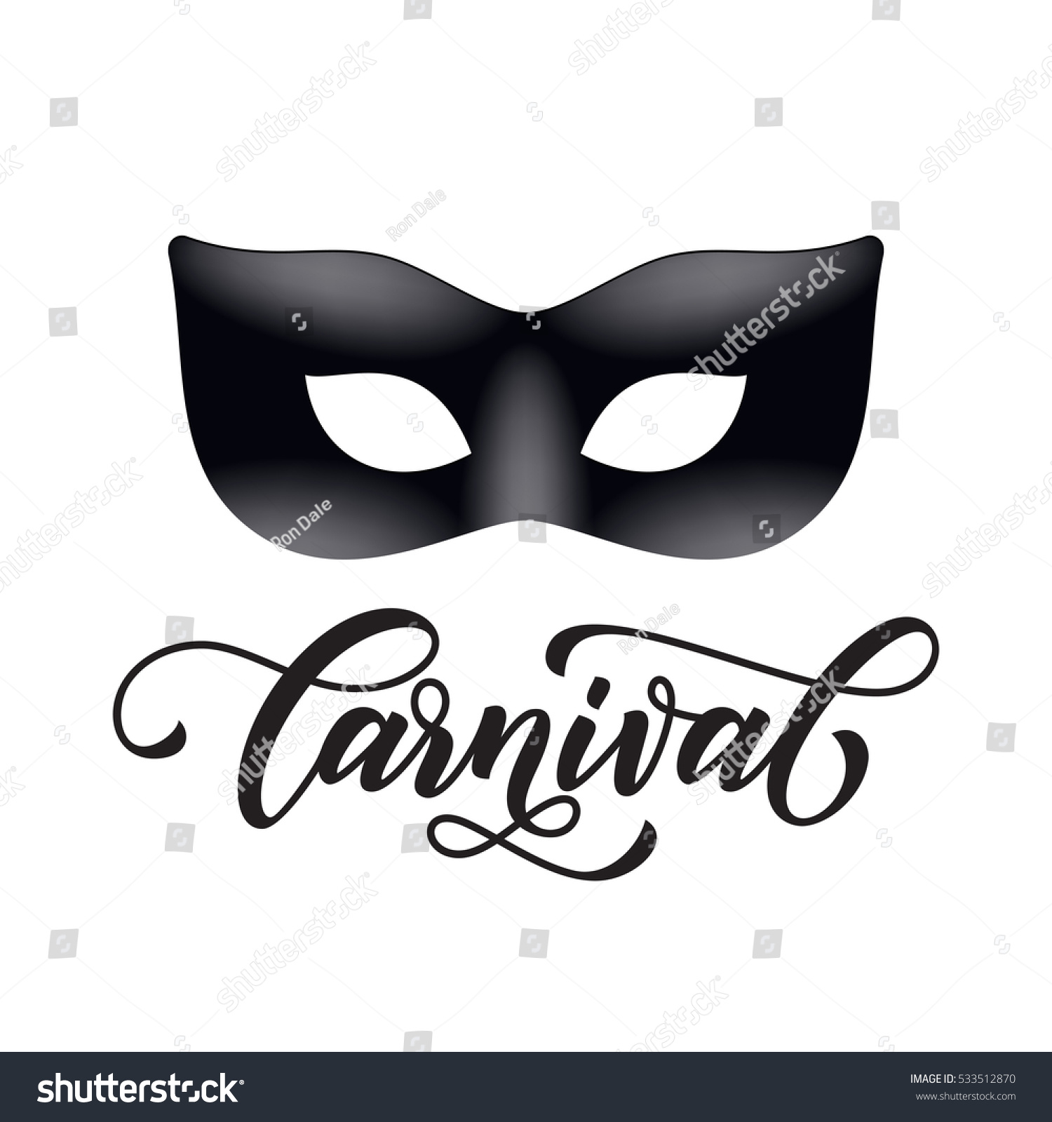 Mardi Gras Mask Carnival Calligraphy Lettering Stock