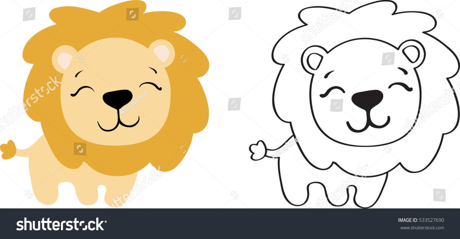 Drawing Cartoon Cute Toy Lion Color Stock Vector Royalty Free