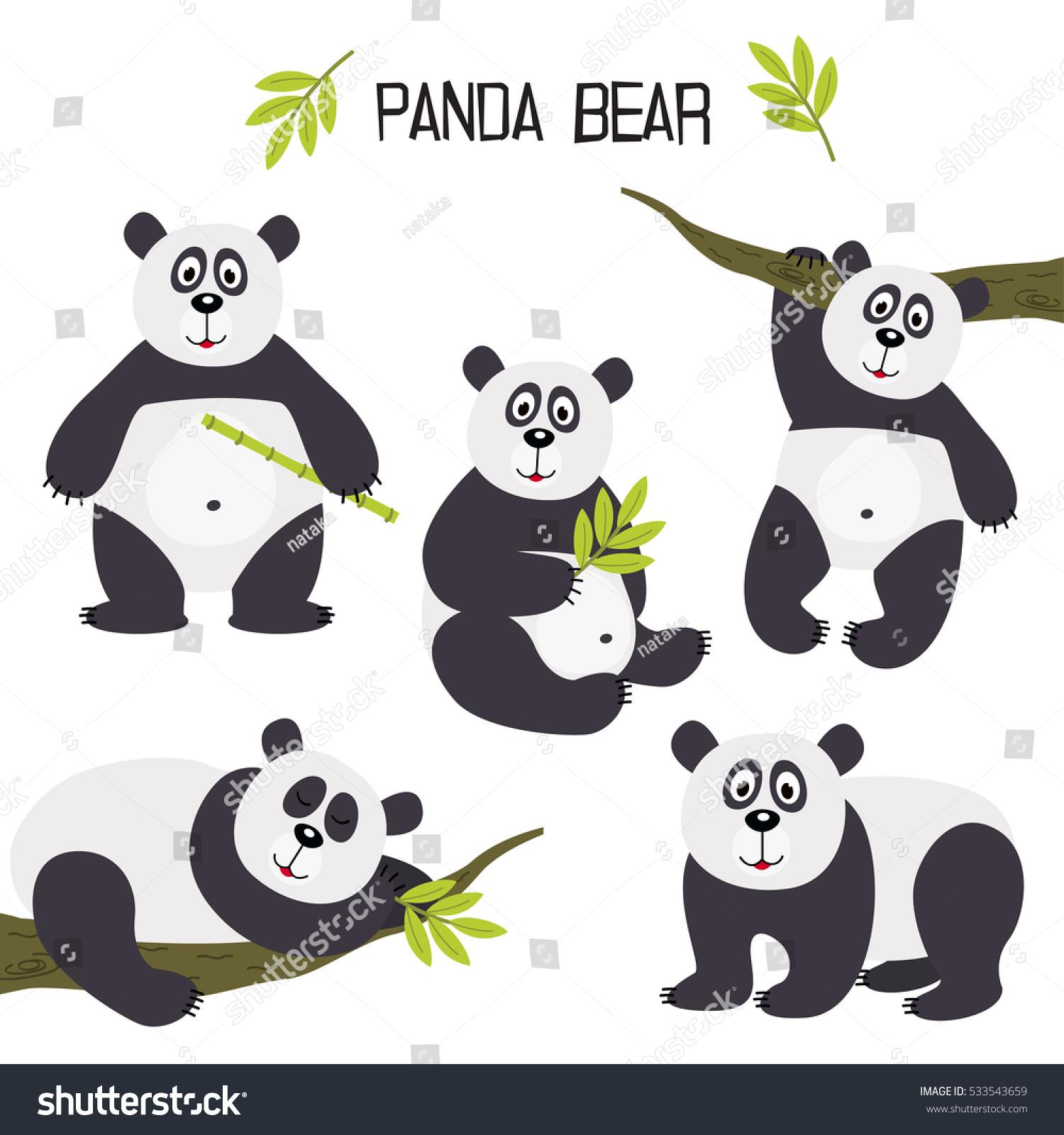 set of isolated panda bear vector illustration eps