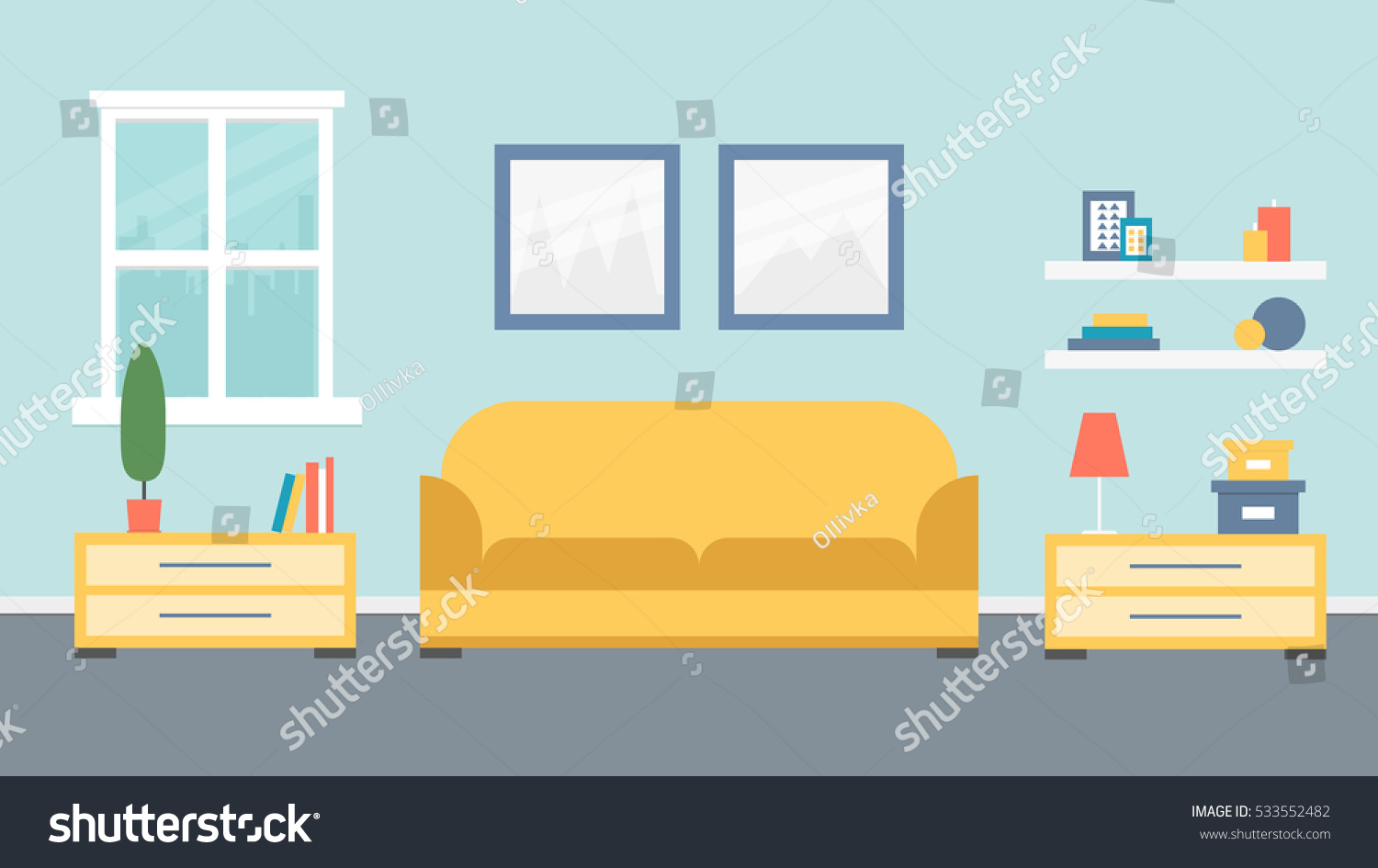 Living room design vector illustration stock vector for Room design vector