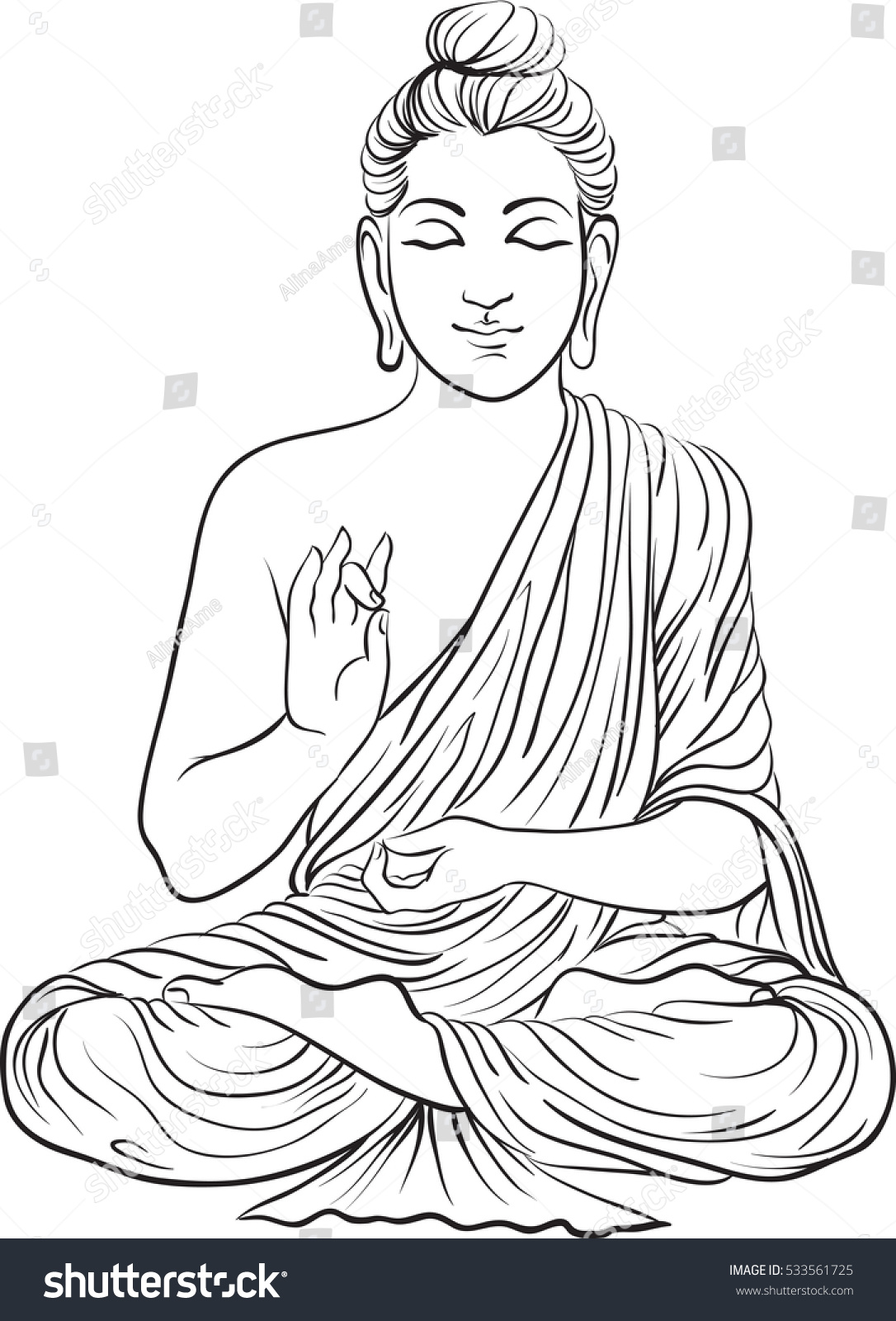 Drawing of a buddha statue art vector illustration of gautama buddhism religion 533561725