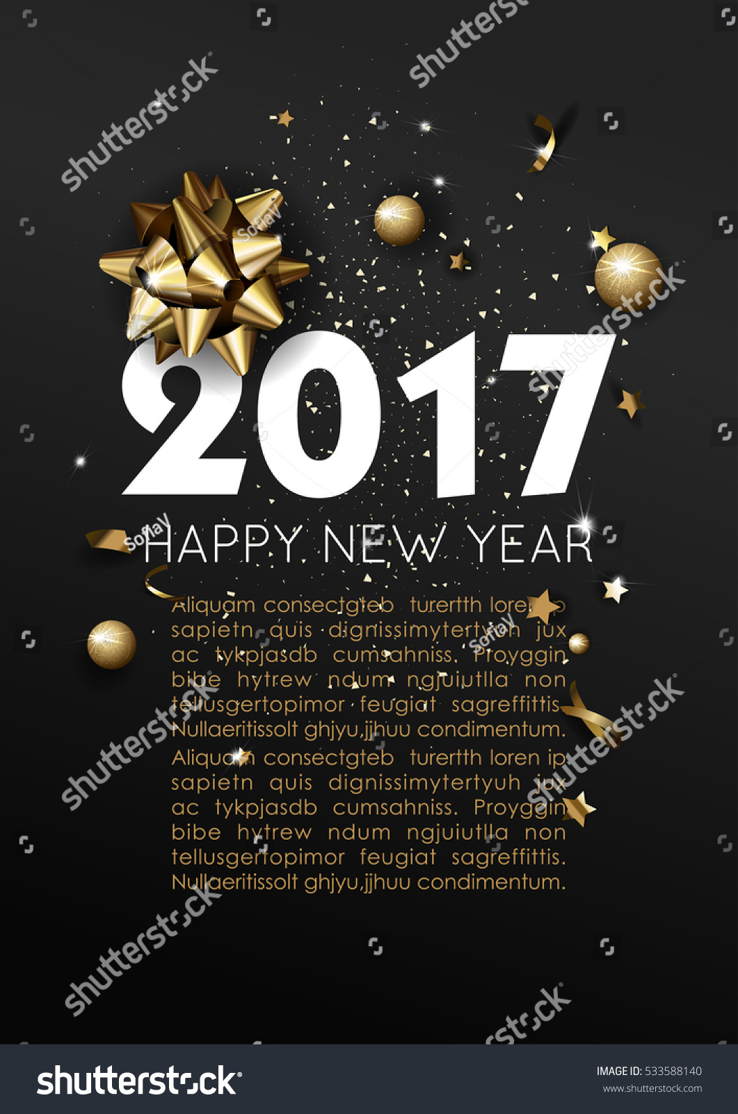 Happy New Year 2017 Greeting Card Stock Vektorgrafik 533588140