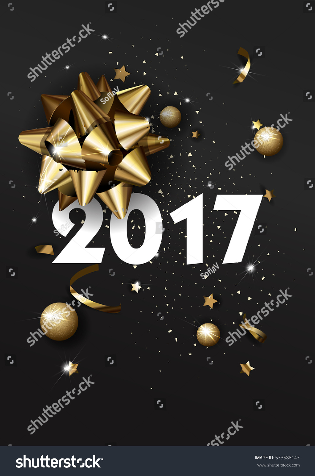 Happy New Year 2017 greeting card or poster template flyer or invitation design. Beautiful luxury holiday background with 3D golden gift bow. Vector Illustration. #533588143