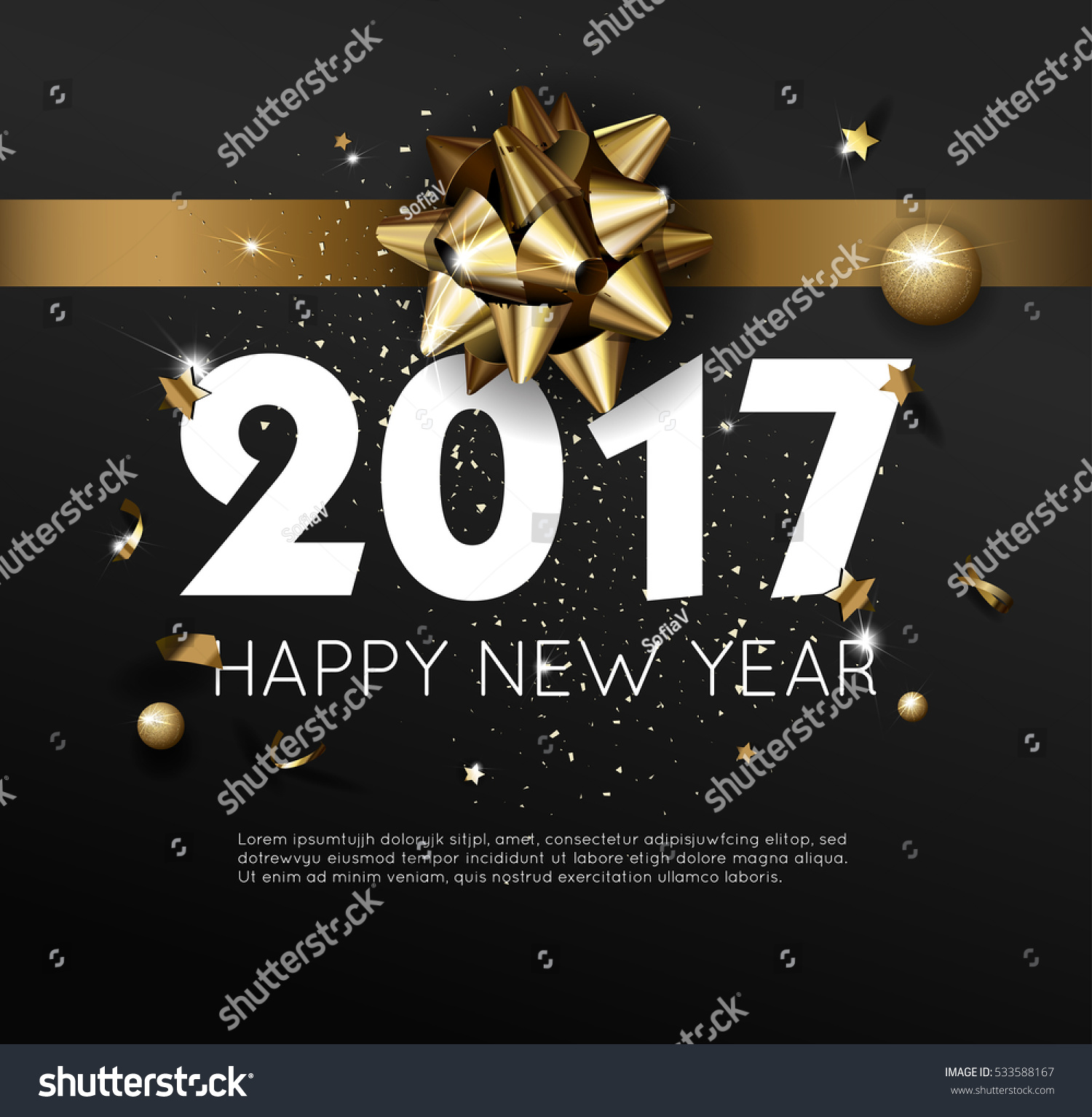happy new year 2017 greeting card or poster template flyer or invitation design beautiful