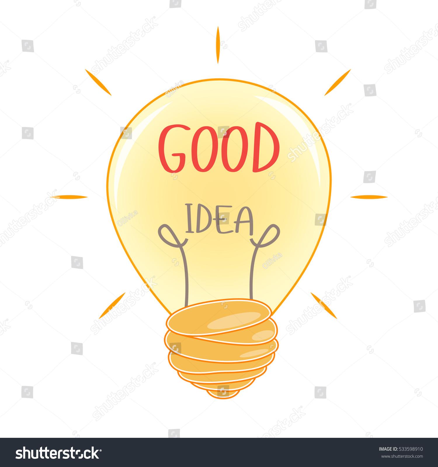 Light Bulb Inscription Good Idea Vector Stock Vector ...