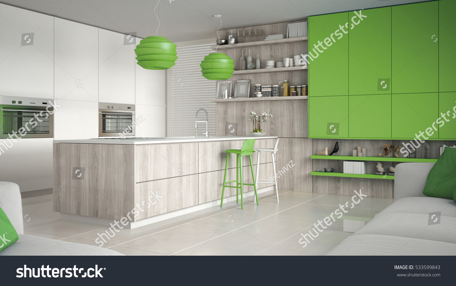 Minimalistic White Kitchen Wooden Green Details Stock Illustration 533599843 Shutterstock