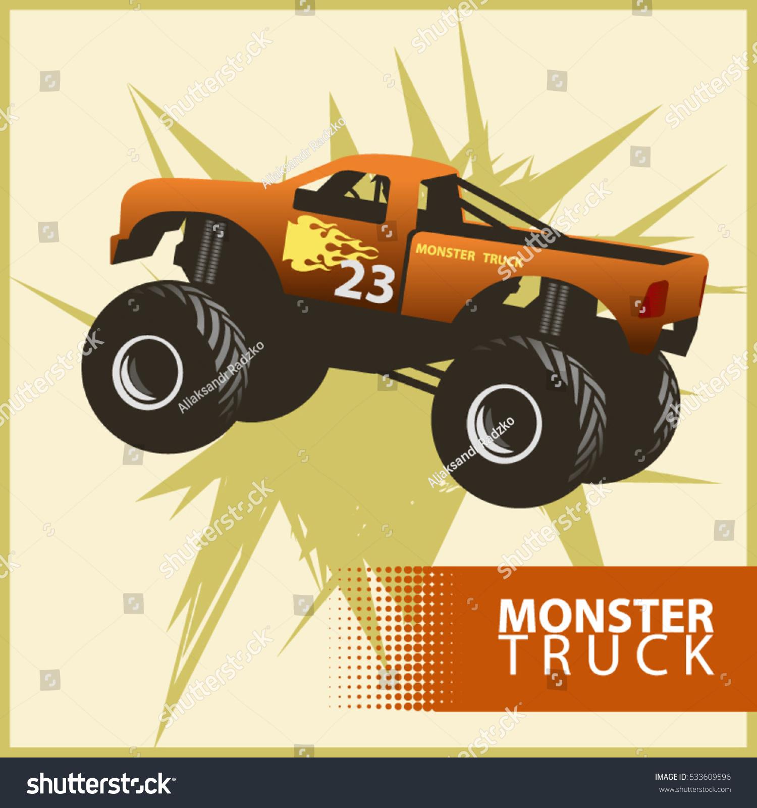 Vector Orange Monster Truck Flames On Stock Vector (Royalty Free ...