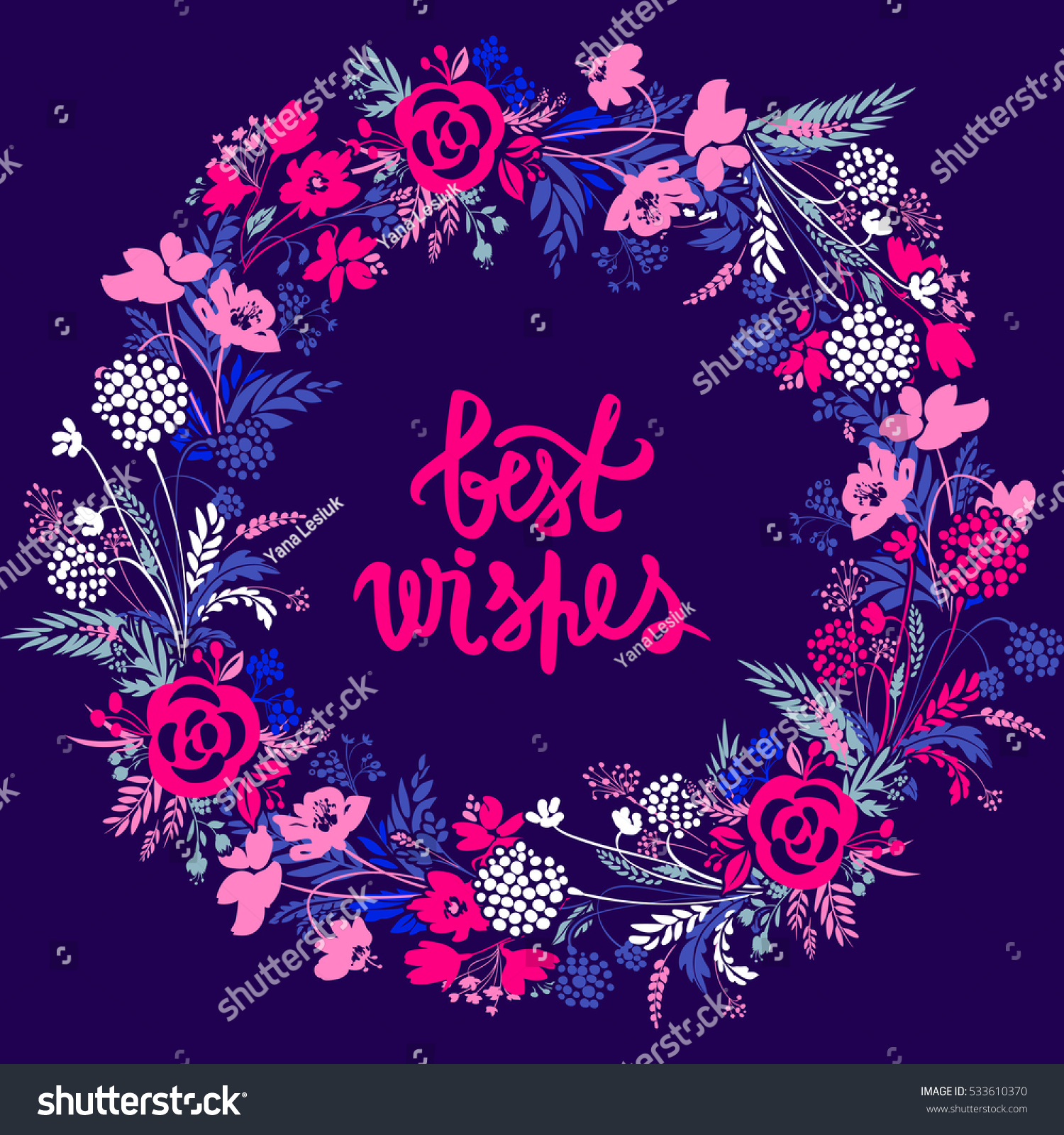 Vector Flower Frame Beautiful Card Floral Stock Vector Royalty Free