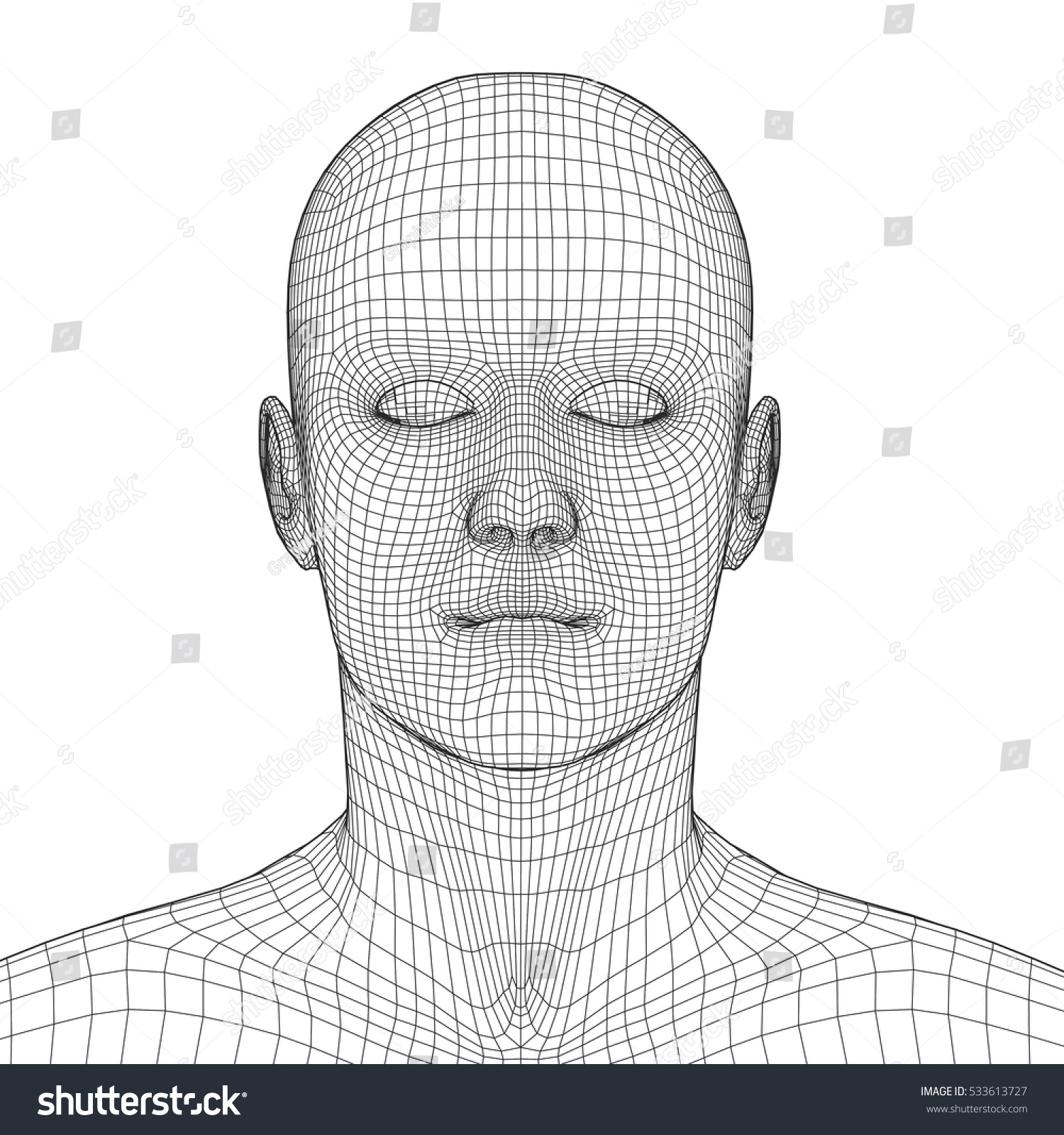Young Man Face Portrait 3 D Wireframe Stock Vector 533613727 ...