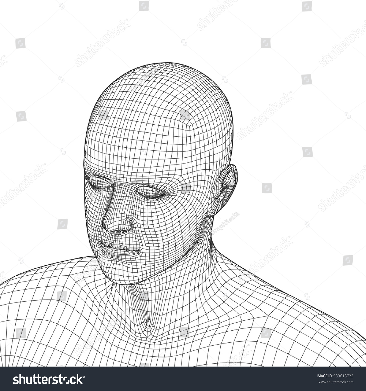 Young Man Face Portrait 3 D Wireframe Stock Vector (2018) 533613733 ...