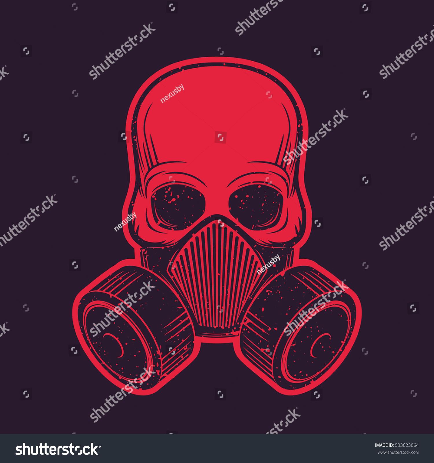Shirt design equipment - Skull With Respirator Gas Mask T Shirt Design