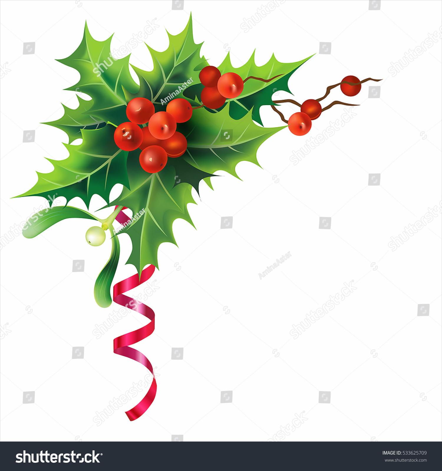 Christmas Holly Border Clipart.Christmas Holly Border Isolated On White Stock Vector