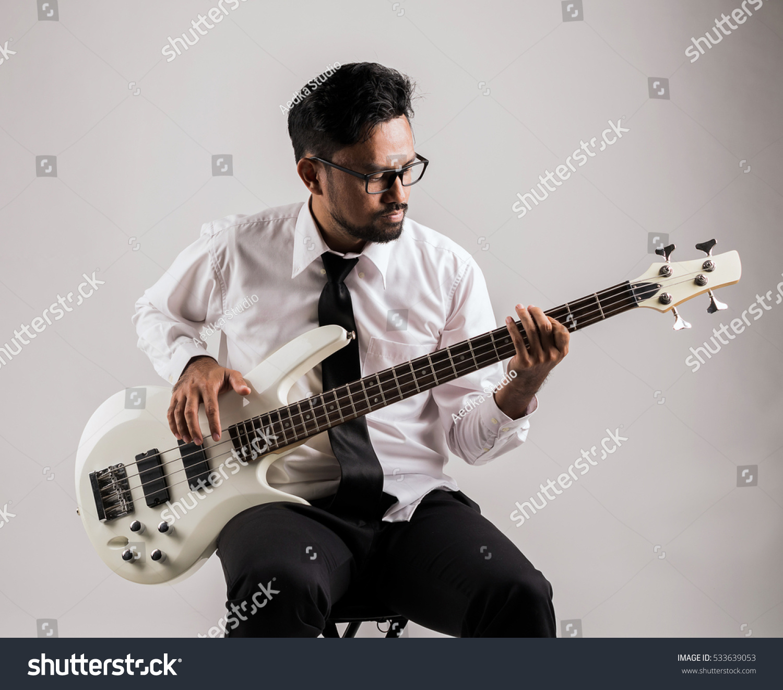Portrait Asian Businessman Playing Guitar Stock
