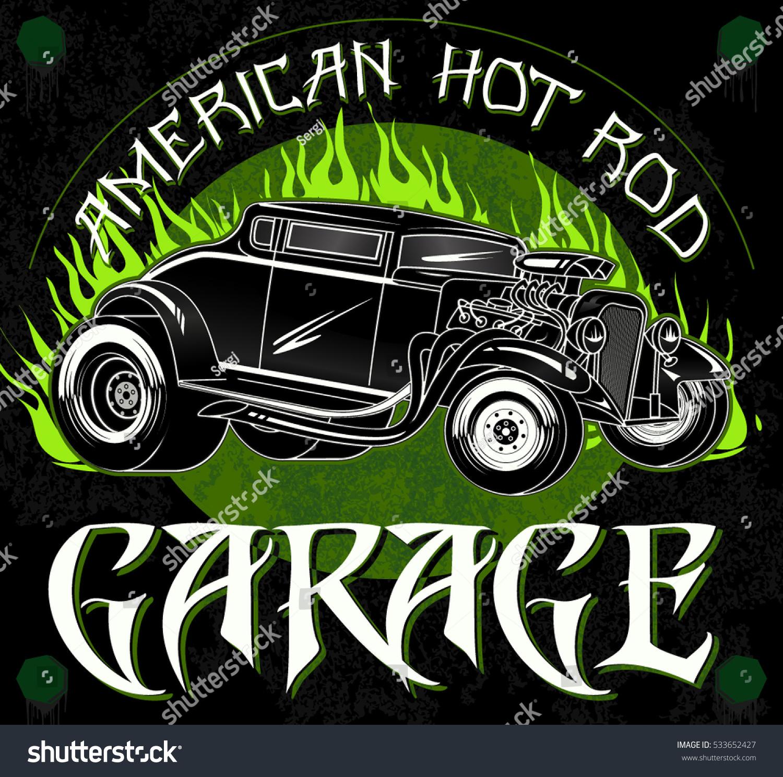 Royalty-free American hot rod garage. Stylish… #533652427 Stock ...