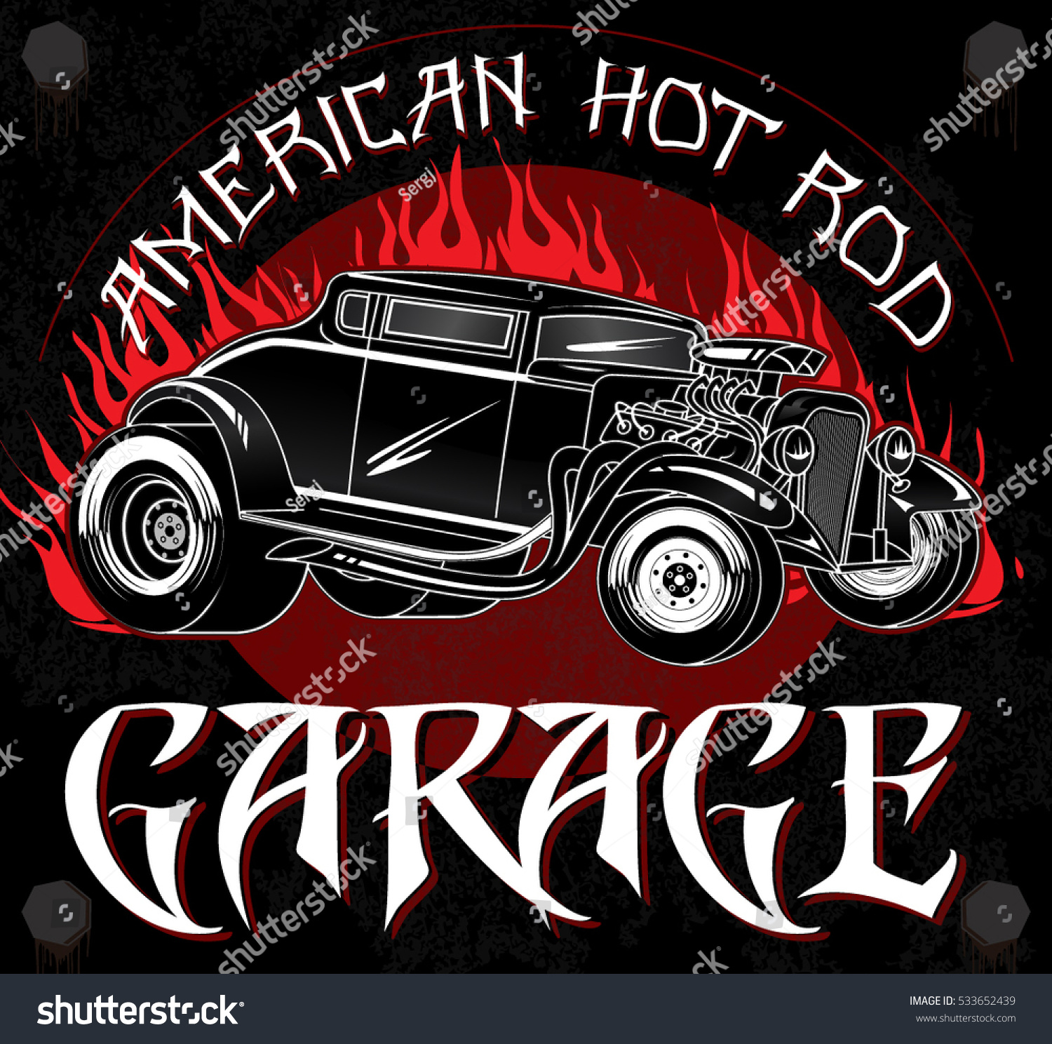 American Hot Rod Garage Stylish Vintage Stock Vector 533652439 ...