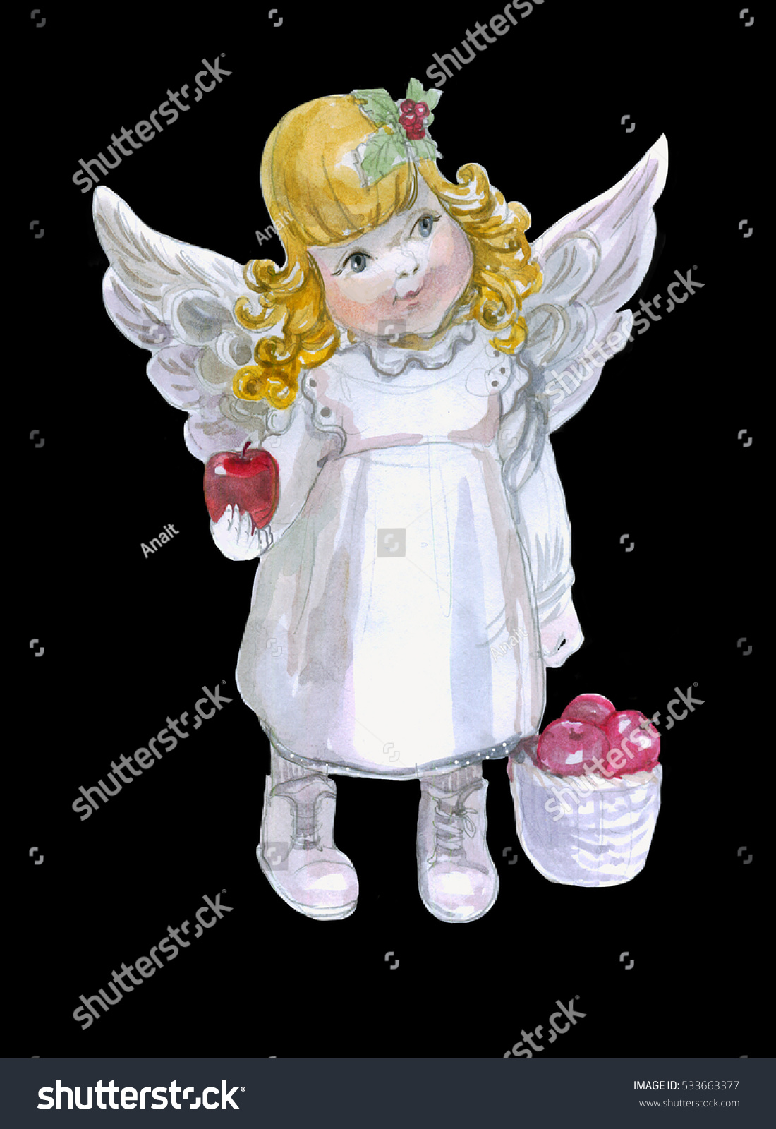 Little Angel Toys : Toy little girl angel watercolor isolate stock