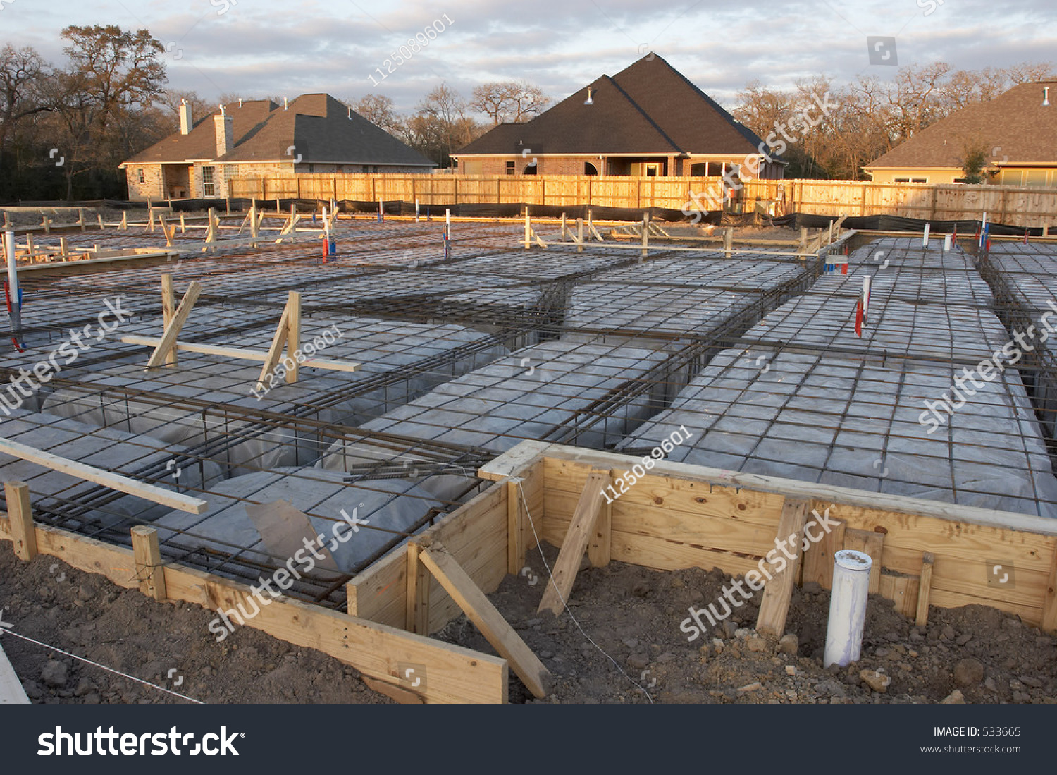 Trenches rebar prep work house foundation stock photo for How do foundations work