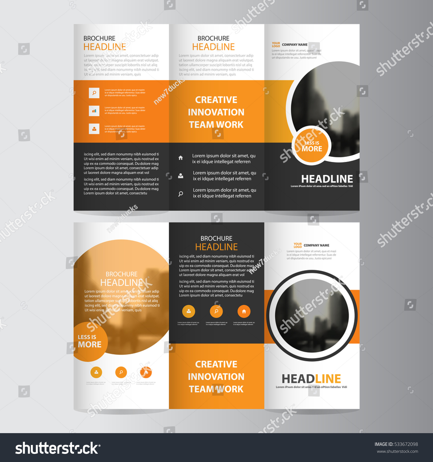 circle brochure template - orange circle business trifold leaflet brochure stock