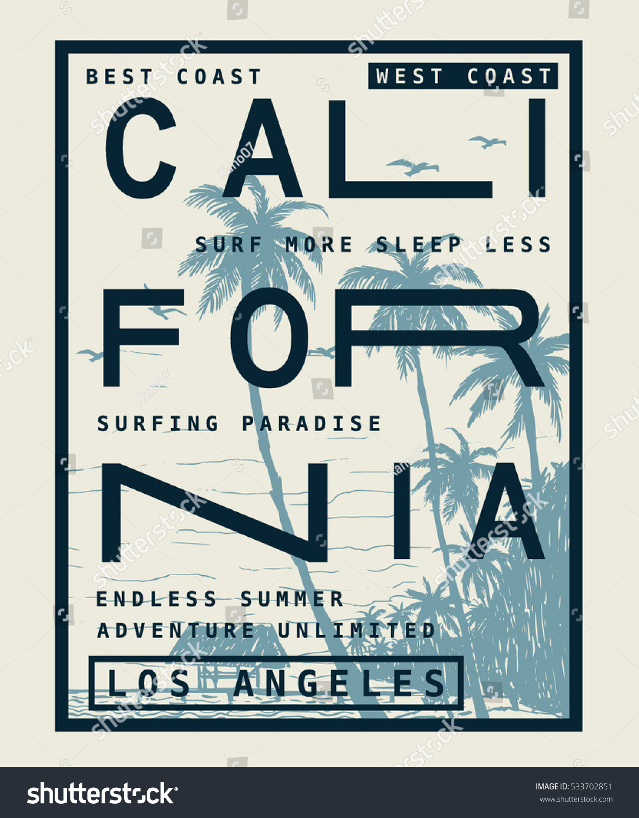 Los Angeles California Typography Tshirt Print Stock Vector Royalty