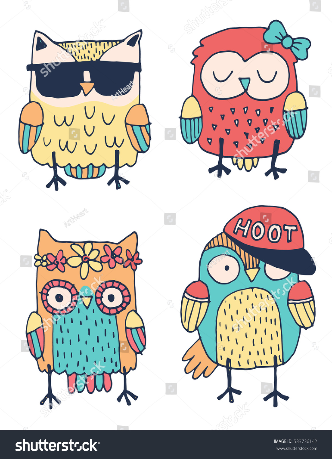 set four quirky colorful owls drawn stock vector 533736142