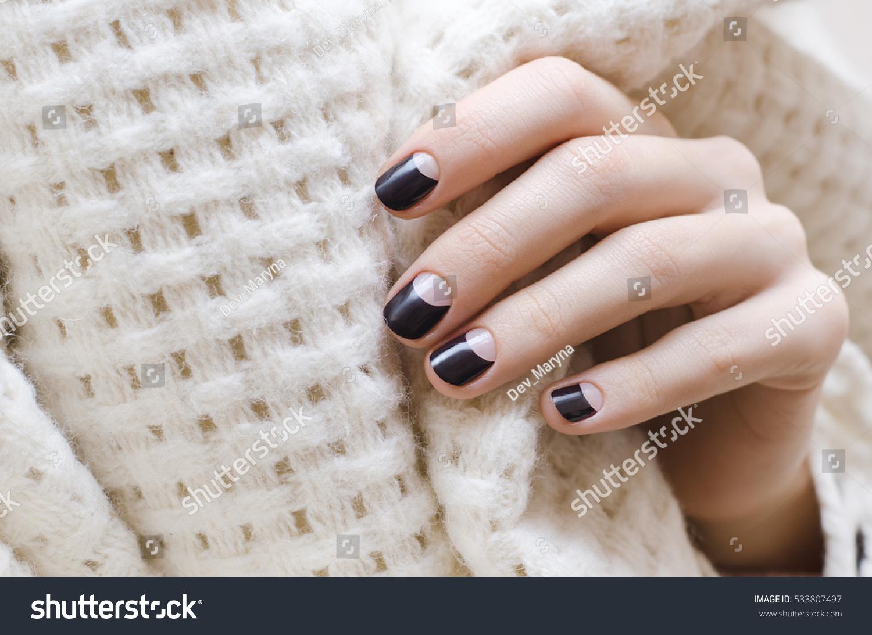 Female Hands Dark Brown Nail Design Stock Photo 533807497 - Shutterstock
