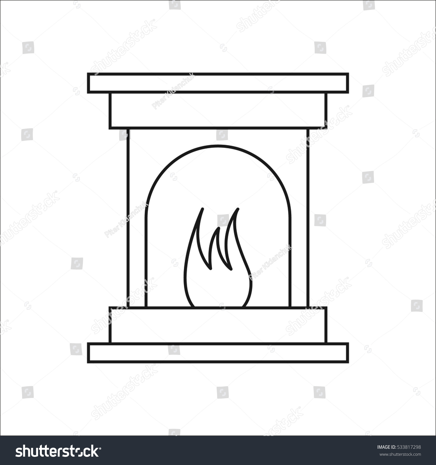 Fireplace Symbol Sign Line Icon On Stock Vector 533817298 ...