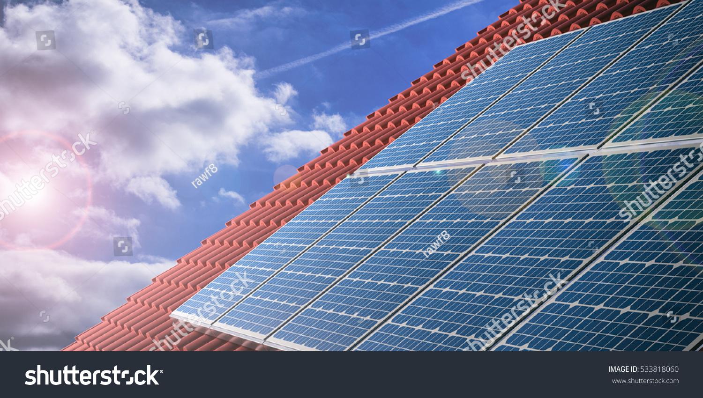 Solar Panels On Red Roof Tiles Stock Illustration 533818060 ...