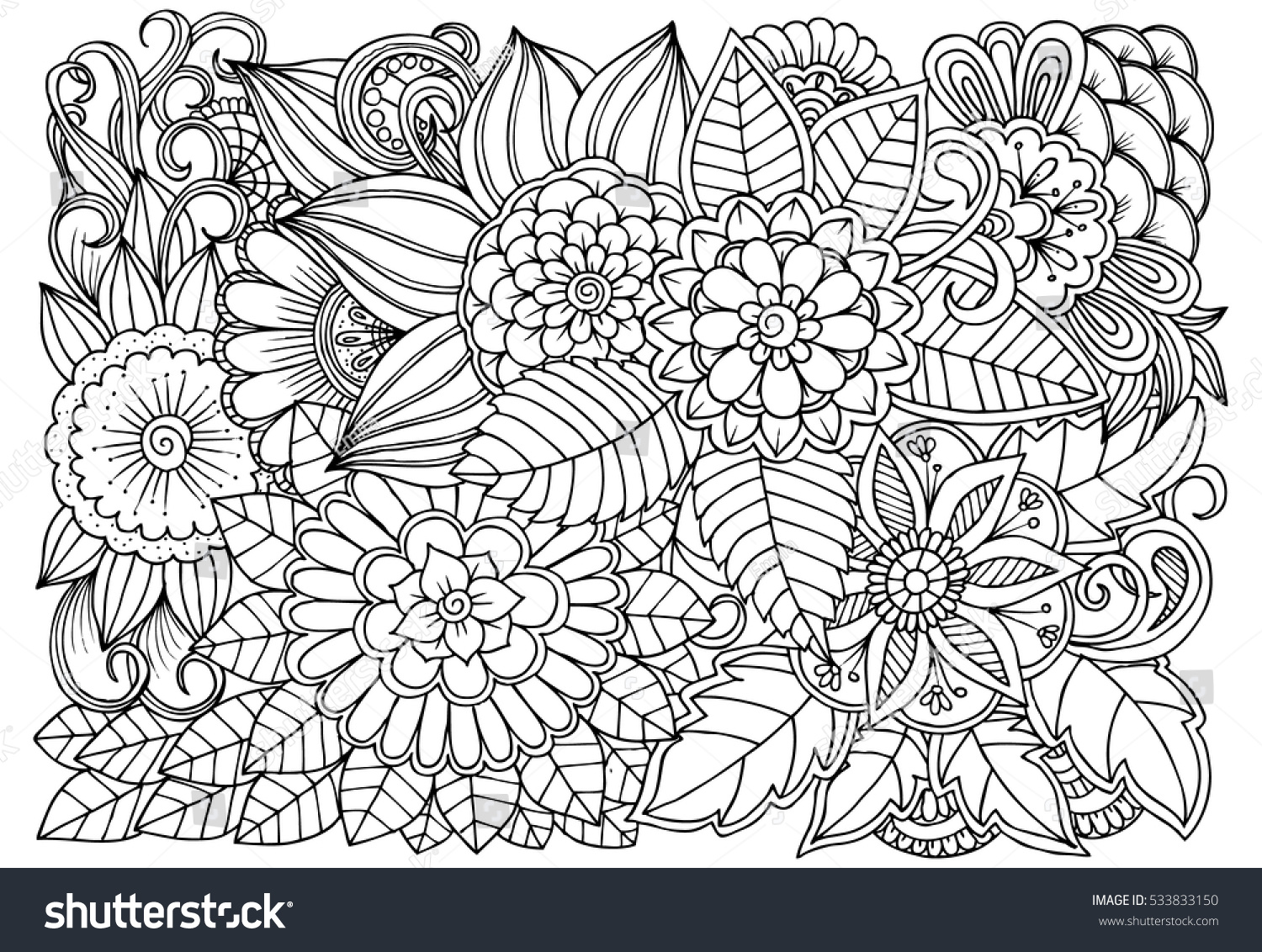 Scribble Drawing Art Therapy : Doodle floral drawing art therapy coloring stock vector