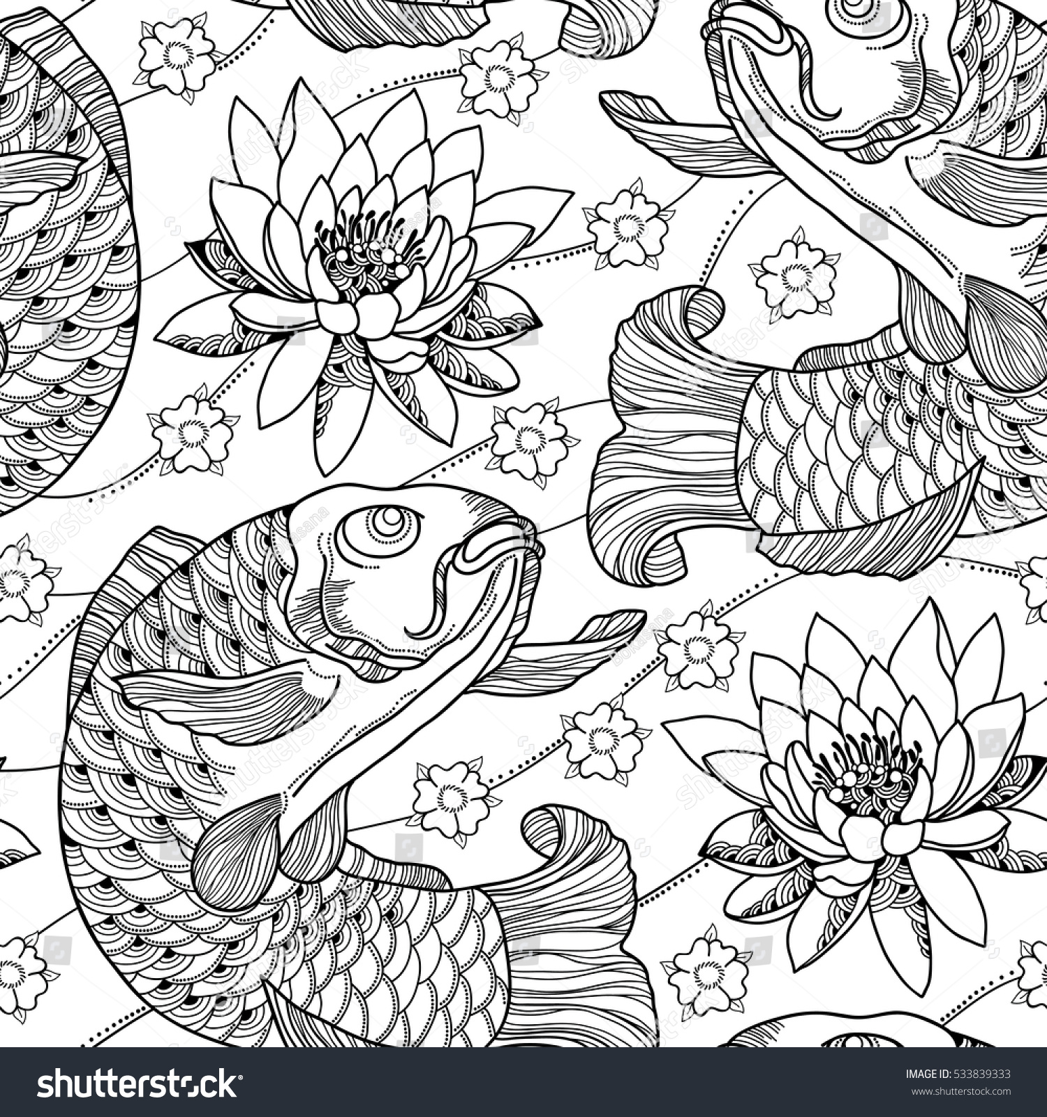 Lotus designs coloring book - Vector Seamless Pattern With Outline Koi Carp And Lotus Or Water Lily In Black On The