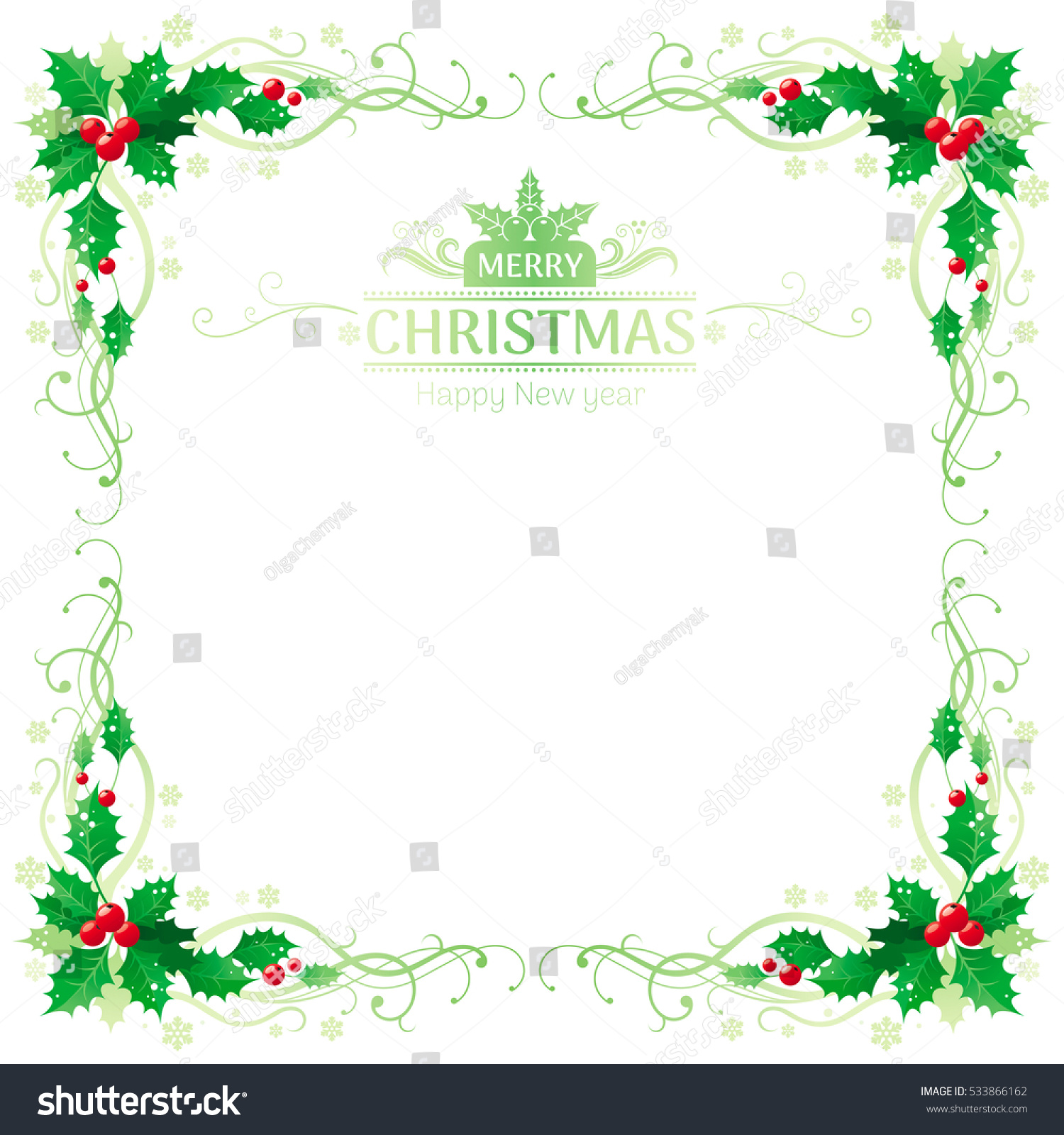 Merry Christmas Happy New Year Square Stock Vector ...