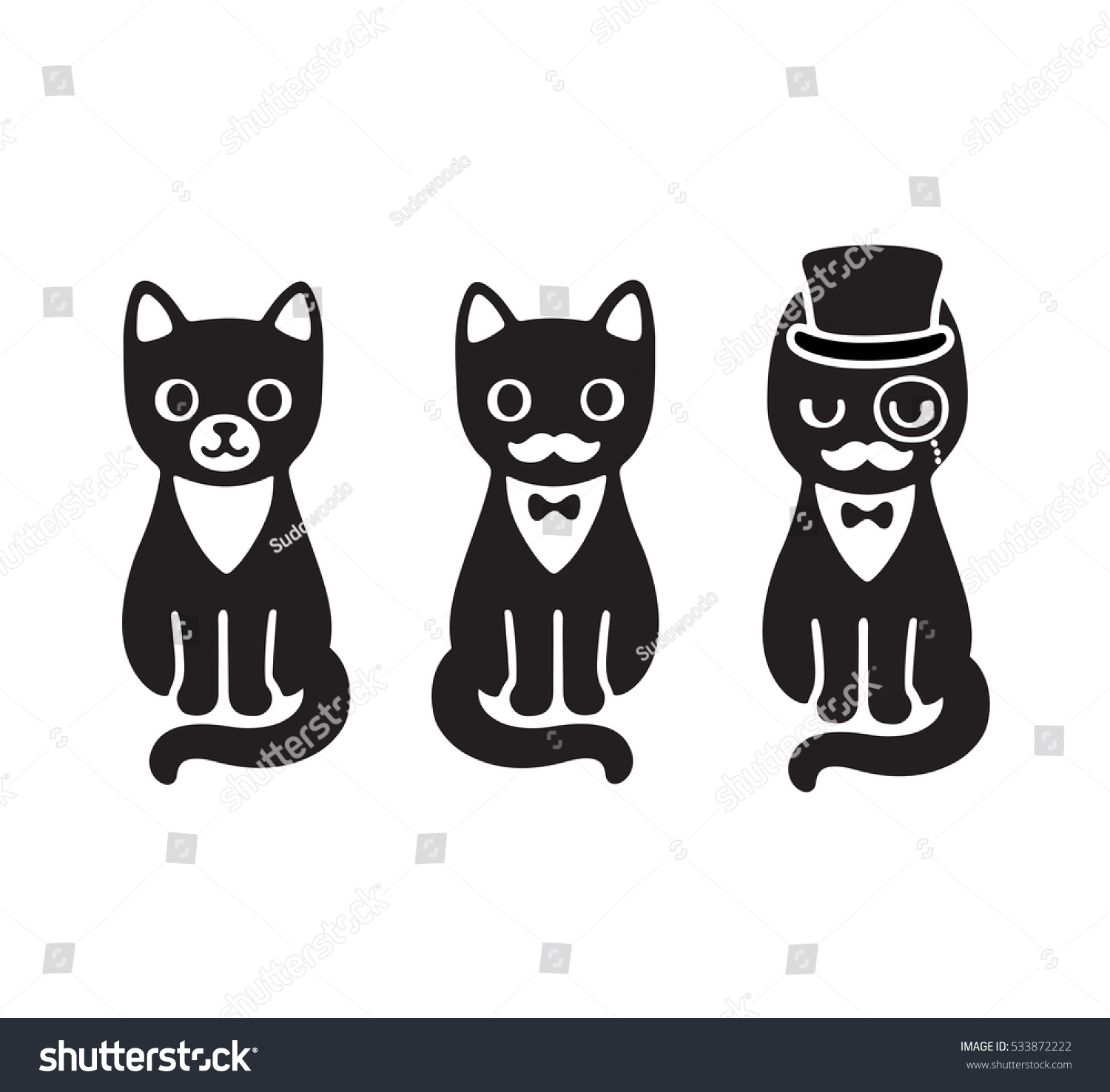 cute cartoon drawing black white tuxedo stock vector 533872222