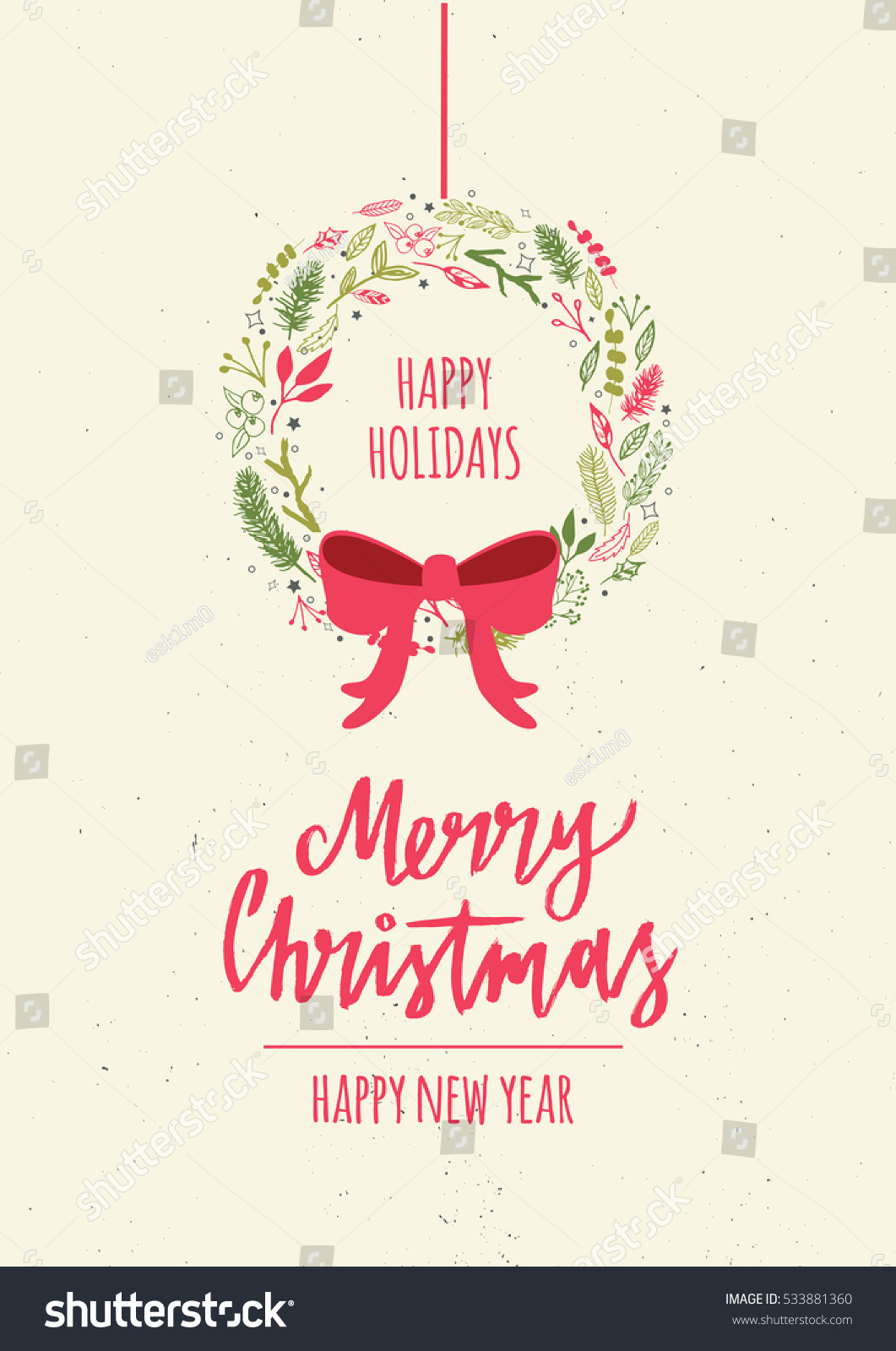 Merry Christmas Card Lettering Christmas Wreath Stock Vector ...