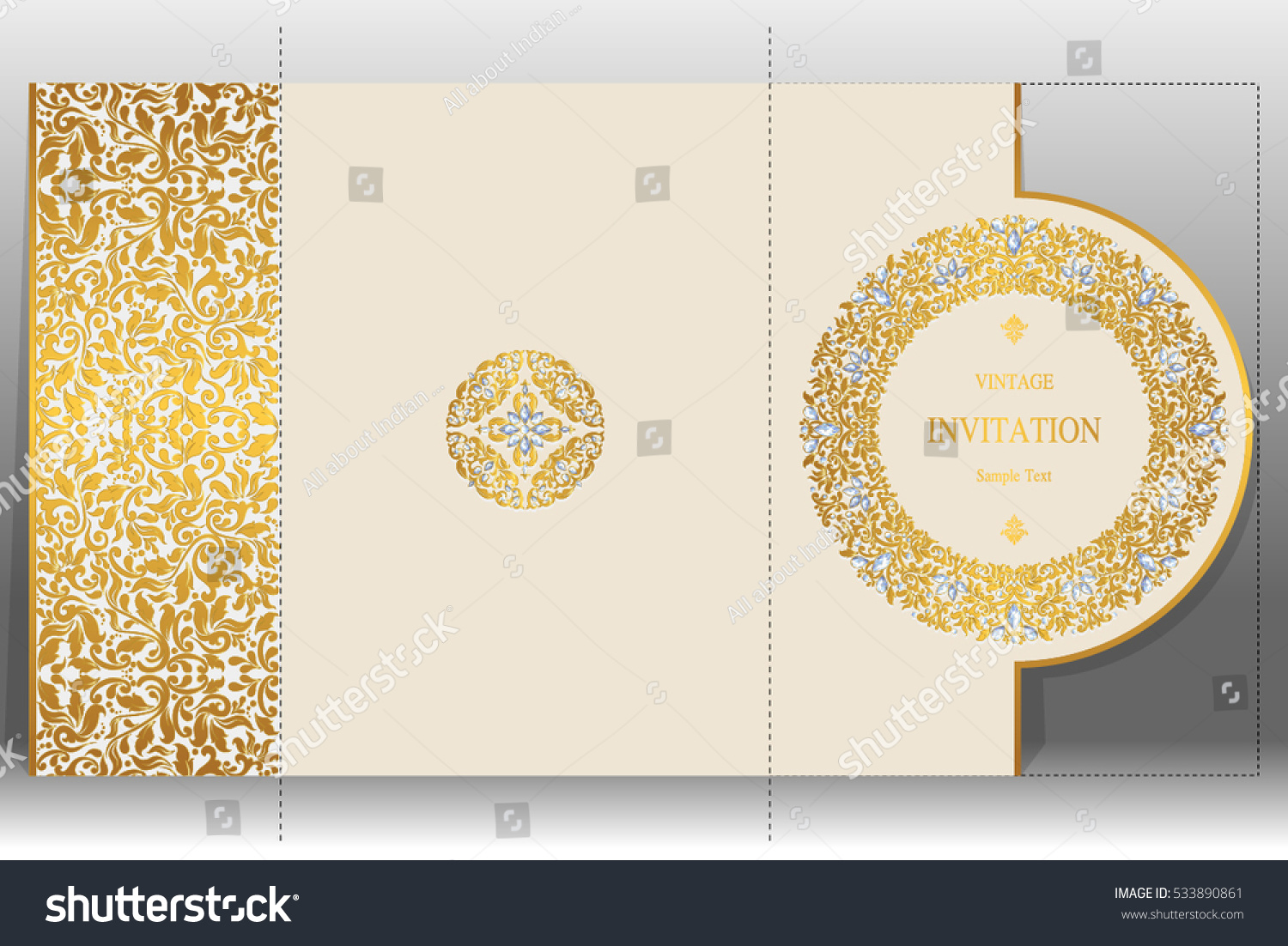Wedding Invitation Card Templates Gold Patterned Stock Image