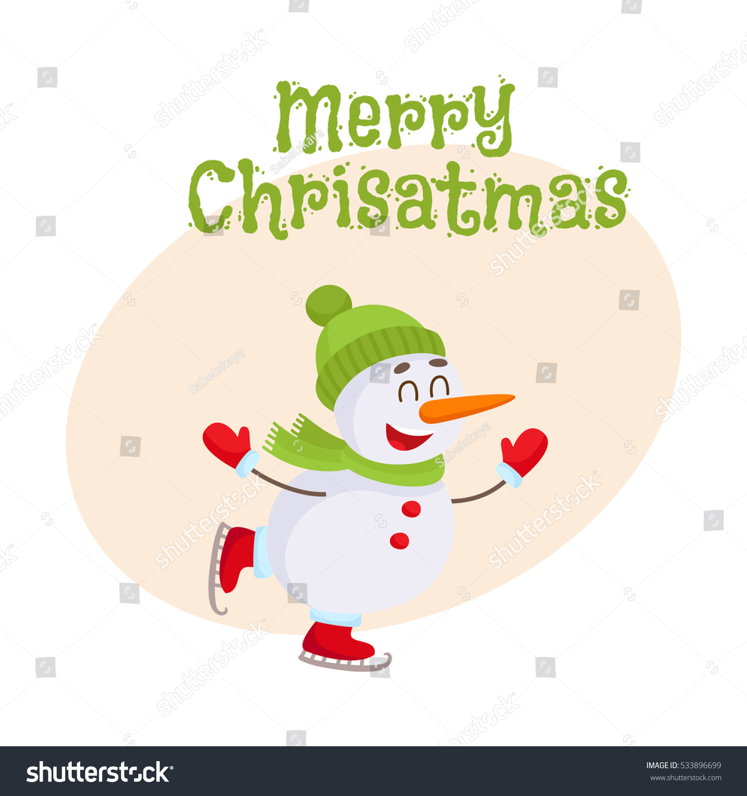 Merry christmas greeting card template cute stock vector 533896699 merry christmas greeting card template with cute and funny little snowman ice skating happily cartoon m4hsunfo Gallery