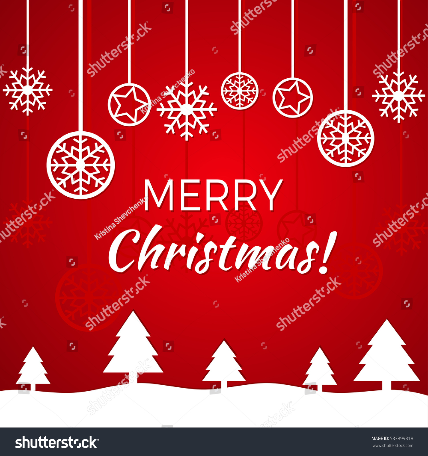 Christmas Greeting Card Design Vector Illustration Stock Photo