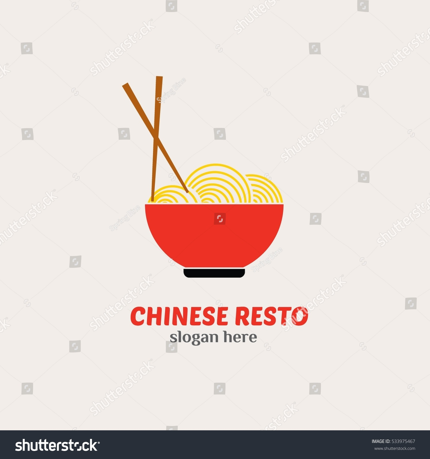 Chinese restaurant logo design template vector stock