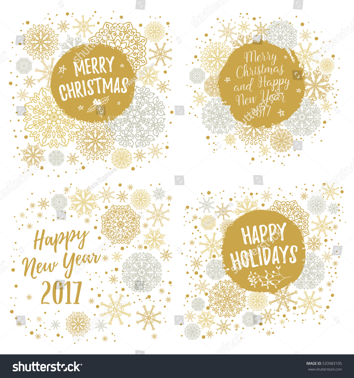 Merry Christmas Happy Holidays Happy New Stock Vector (Royalty Free ...