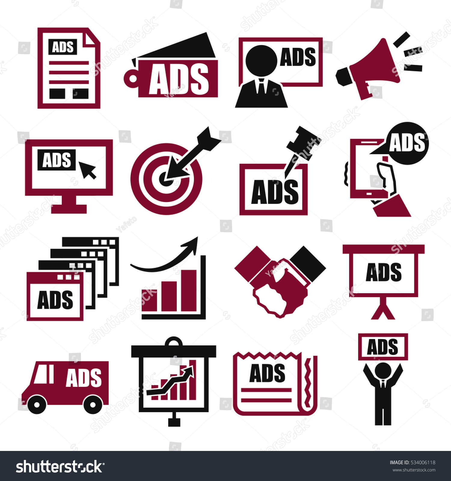 Advertising Icon Set Stock Vector 534006118 - Shutterstock
