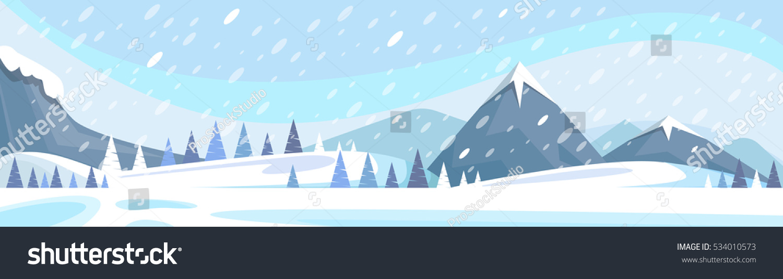Winter Mountain Landscape White Snow Banner Stock Vector ...