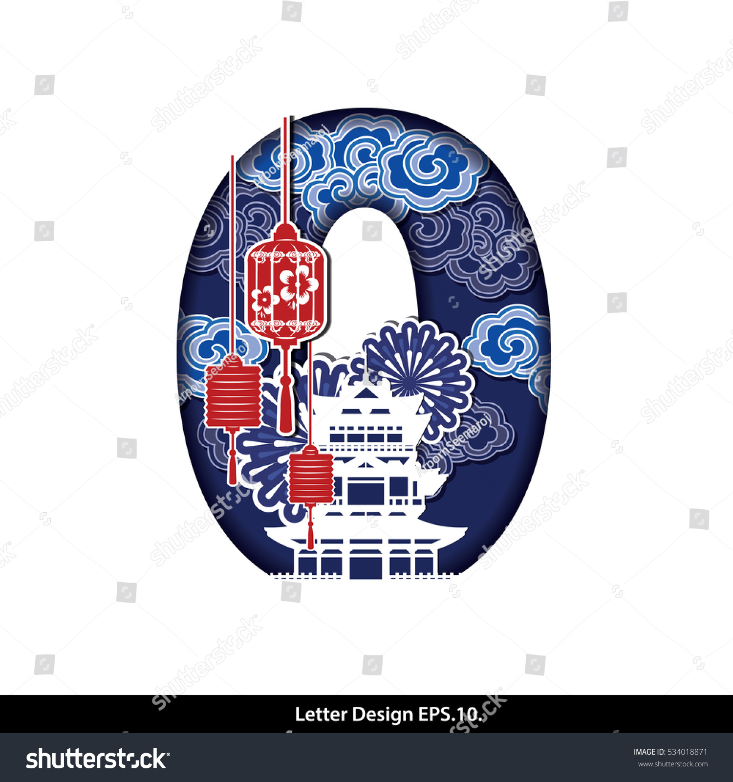 Chinese Calendar Year Zero : Vector chinese oriental style letter number stock