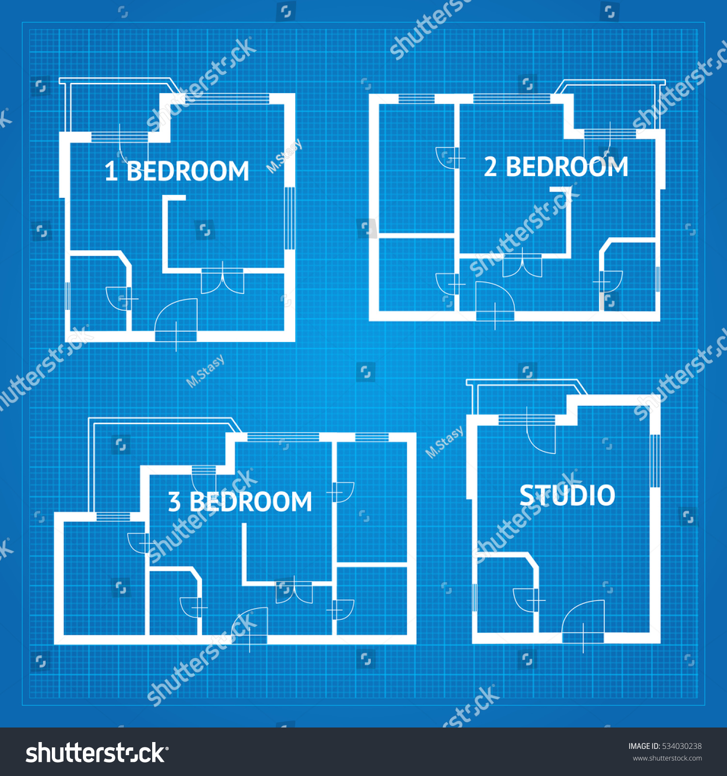 Apartment floor plan unfurnished set blueprint vector de apartment floor plan unfurnished set blueprint design elements vector illustration malvernweather Choice Image