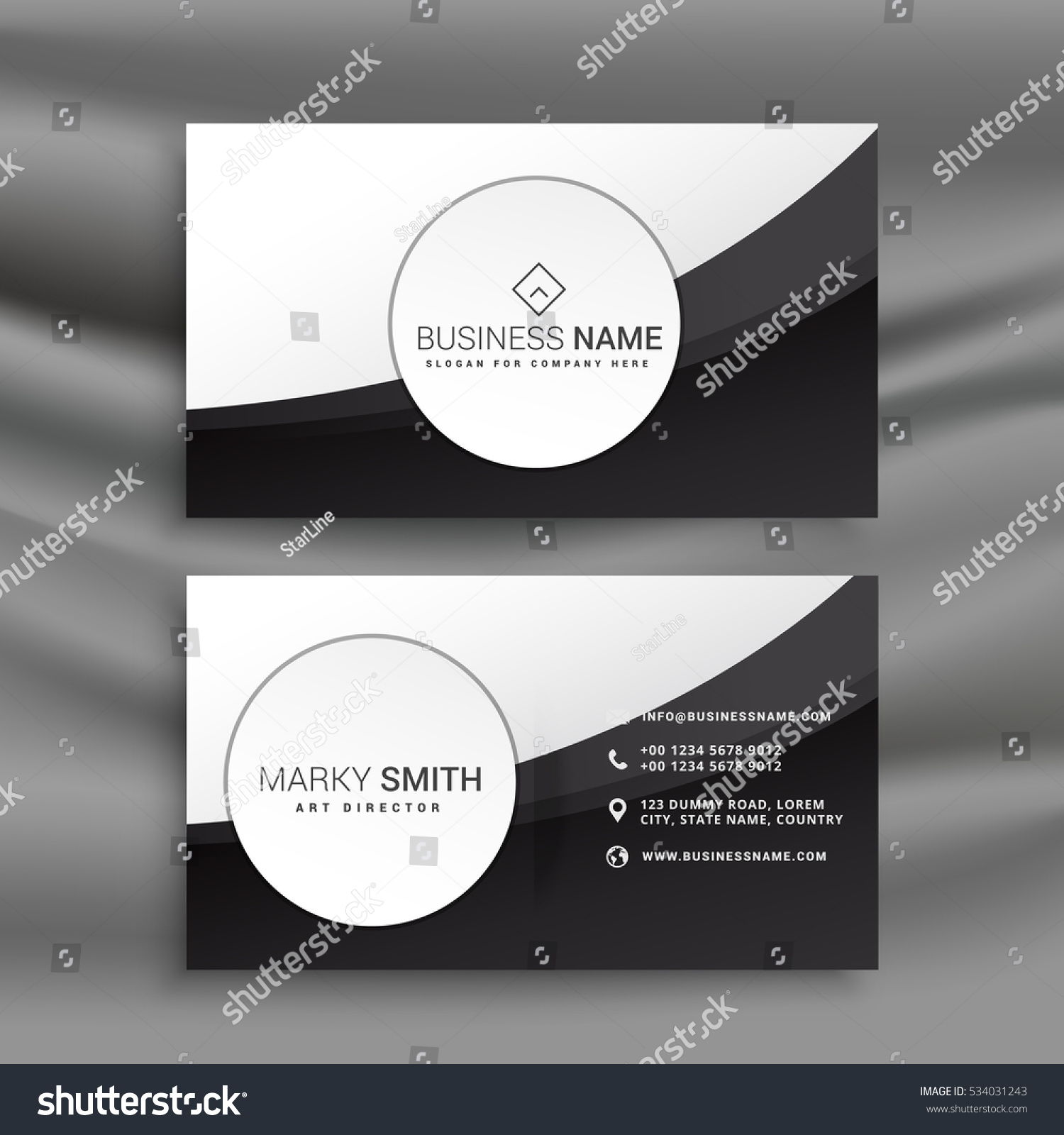 Black White Business Card Wavy Style Stock Vector 534031243 ...