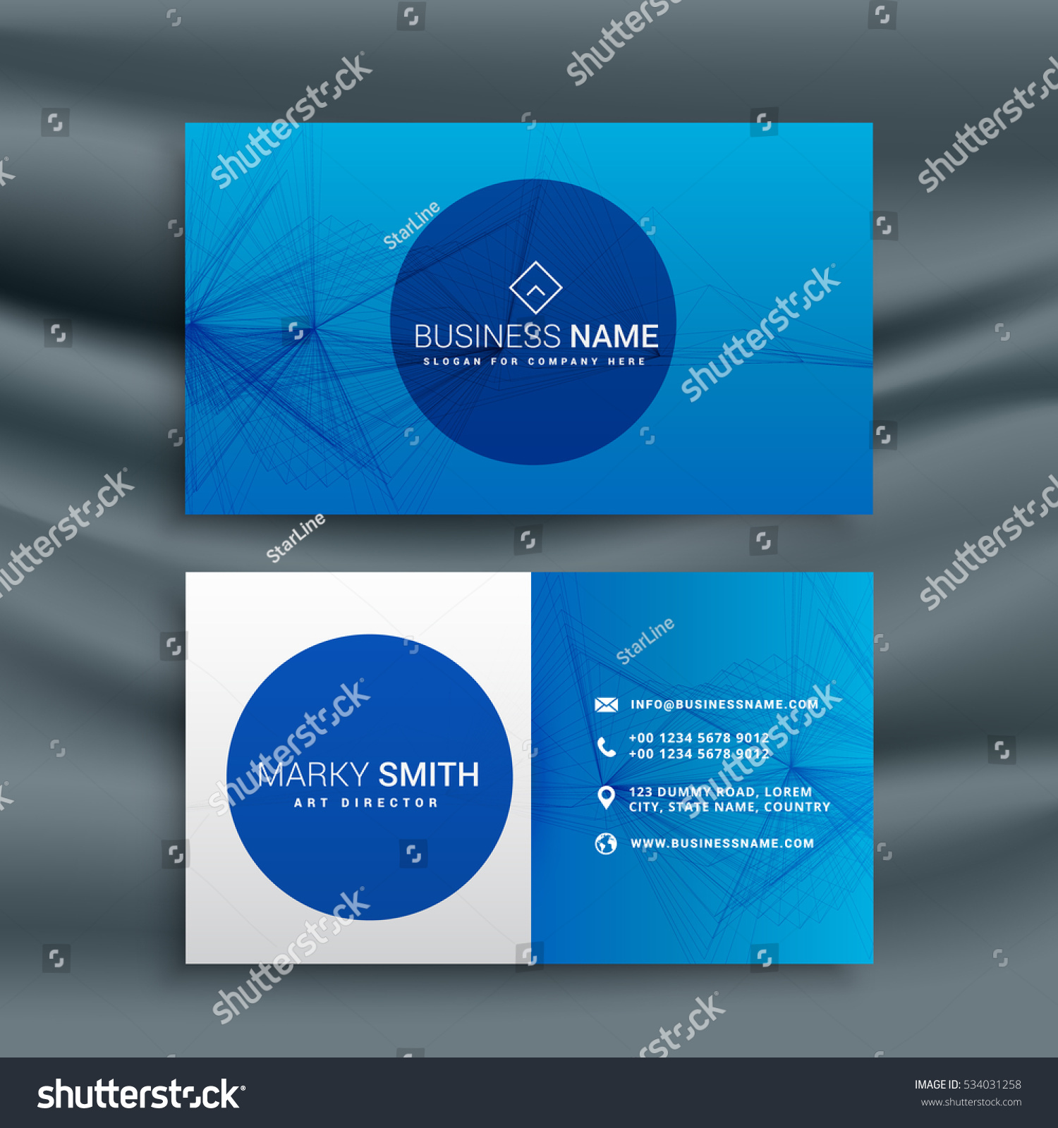 Royalty free blue business card template with 534031258 stock blue business card template with abstract wire mesh shape 534031258 friedricerecipe Images