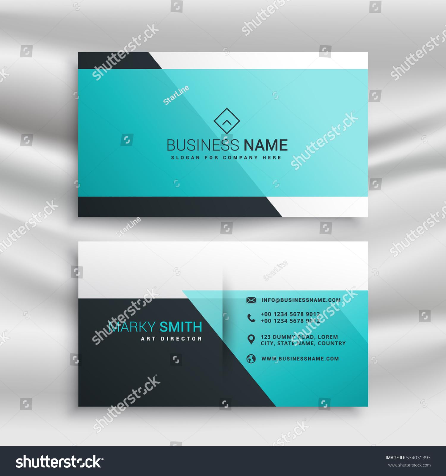 Elegant Business Card Design Template Blue Stock Vector 534031393 ...
