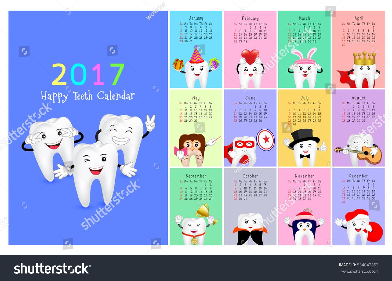 Wall dental calendar. New year planner. Funny cartoon teeth and oral  hygiene concept.